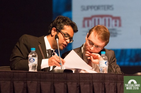 Michael Dunn Goejikan (r) and Harish Natarajan (l) (PEP A), the top two speakers at WUDC 2016. Credit: Manuel J. Adams