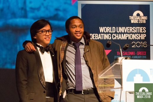 Bo Seo and Fanele Mashwama (Harvard A), winners of the Open category of WUDC 2016